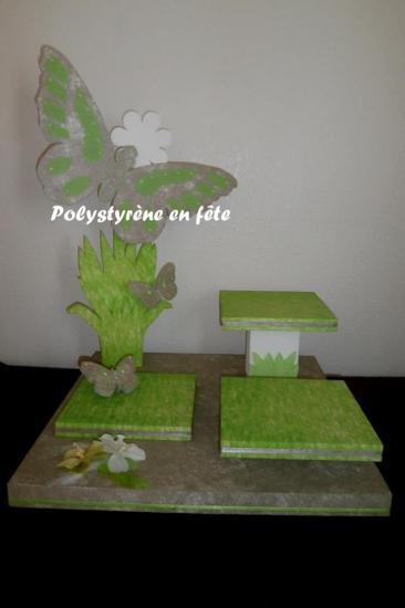 Présentoir papillon - 3 plateaux carrés de 24 cm - 120,00 E