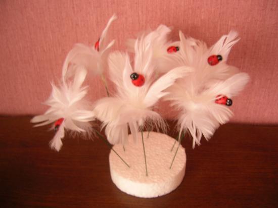 Bouquet de plumes  avec coccinelle sur pic