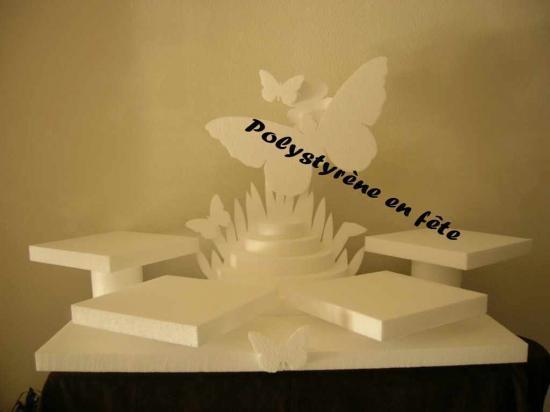 Grand présentoir papillon 4 plateaux de 24 cm + pyramide  95,00 E