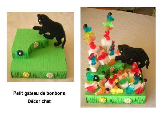 Petit Présentoir 25/25cm pour gâteau de bonbons décor chat -