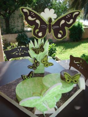 Présentoir papillon ,3 plateaux en escalier