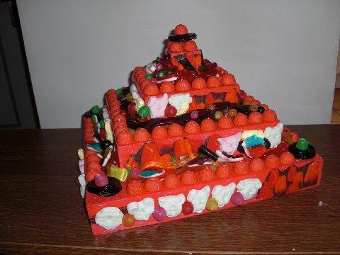 Petite pyramide garnie de bonbons