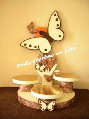 Présentoir papillon 3 plateaux décorés -  100,00 E