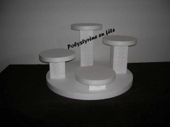présentoir 4 plateaux ronds et colonnes carrées - 70,00 E