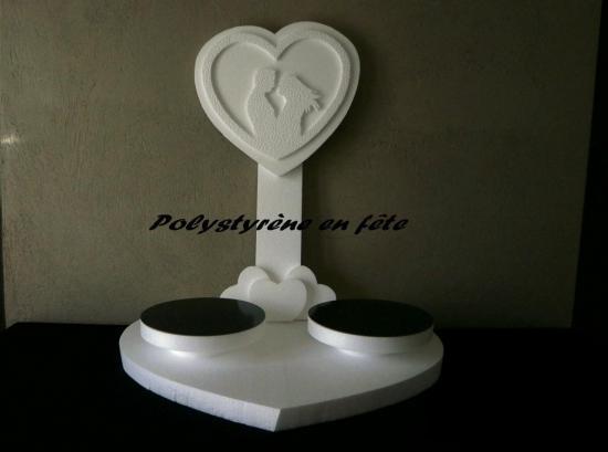 présentoir base coeur 2 plateaux de 24 cm - 60.00 E