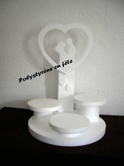 présentoir couple dans coeur - 3 plateaux - 55,00E