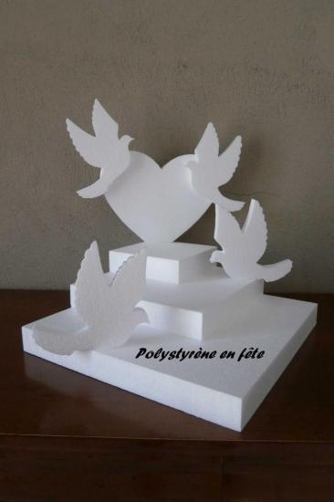 présentoir coeur et colombes 35 cm - 35,00 E