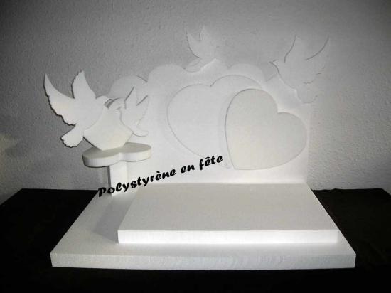 présentoir coeur et colombes 80-60cm - 70,00 E