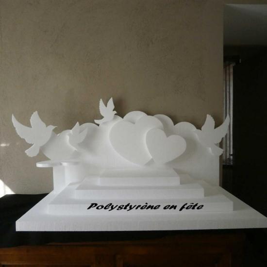 présentoir coeur et colombes - 95,00 E