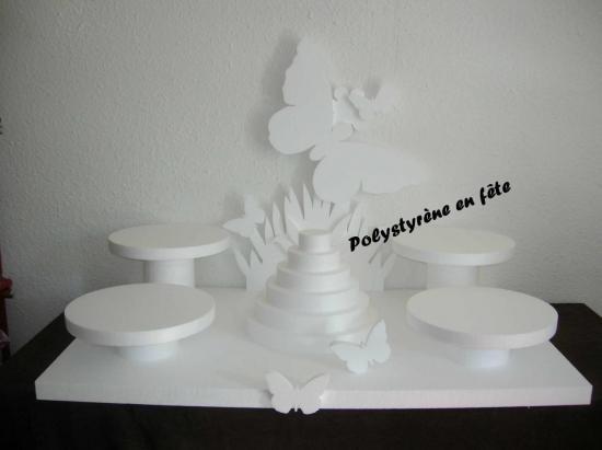 Présentoir papillon 4 plat de 32 cm + pyramide  -  100,00 E