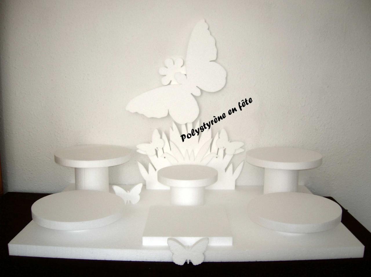 Grand pr sentoir papillon 6 plateaux 100 00 e - Presentoire gateau mariage ...